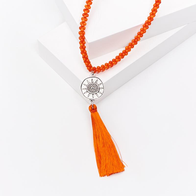 Бусы коралл оранжевый (сотуар) длинные 86 см (биж. сплав) авторские бусы кахолонг прес коралл хрусталь лима