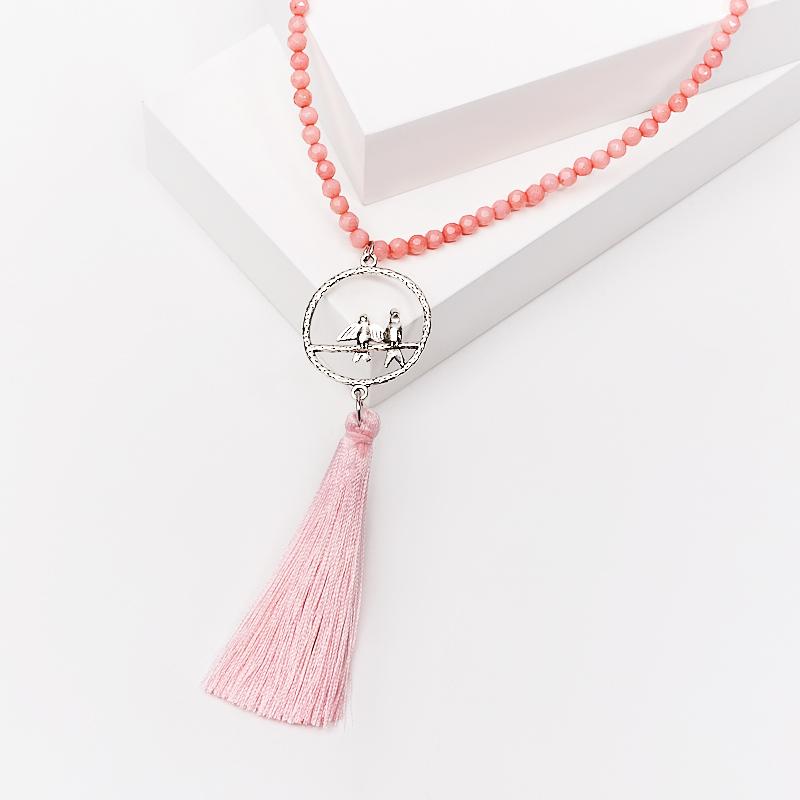 Бусы коралл розовый (сотуар) длинные огранка 4 мм 86 см (биж. сплав) бусина коралл розовый рис 4 5 12 мм 1 шт