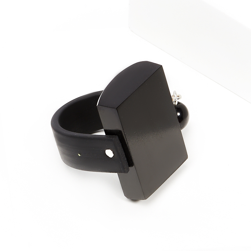 Кольцо гагат Грузия (каучук) размер 19,5