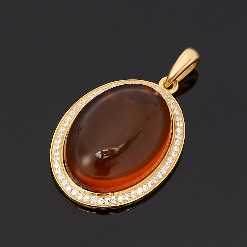 Кулон янтарь овал (серебро 925 пр., позолота)