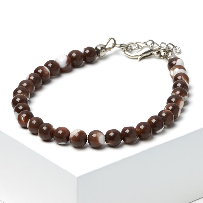 Браслет перламутр коричневый 5 мм 16-19 см (биж. сплав) авторский браслет лиманди змеевик перламутр кахолонг