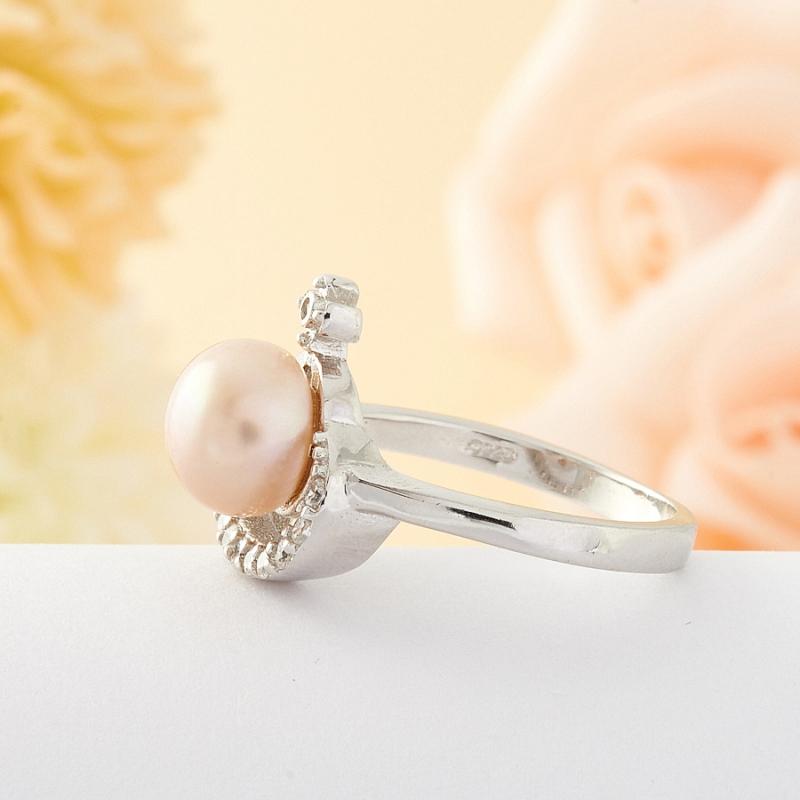 Кольцо бежевый жемчуг Малайзия (серебро) размер 15,5