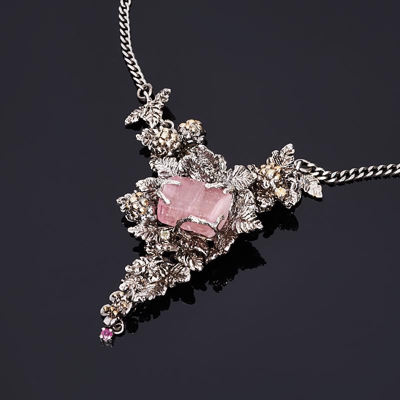 Колье турмалин розовый (рубеллит) (серебро 925 пр., позолота)