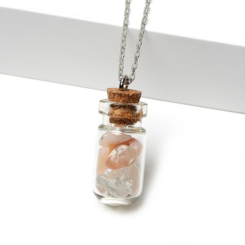 Кулон горный хрусталь, опал розовый бутылочка (биж. сплав) 3-3,5 см