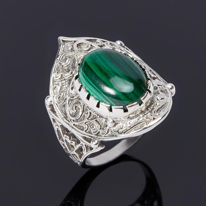 Кольцо малахит (серебро 925 пр.) размер 17,5 кольца колечки кольцо красотка им малахит