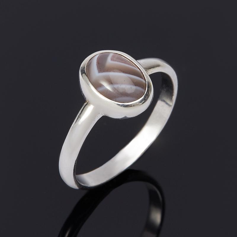 Кольцо агат серый (серебро 925 пр.) размер 15