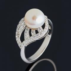 Кольцо жемчуг Малайзия (серебро 925 пр.) размер 17