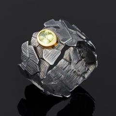 Кольцо хризолит США огранка (серебро 925 пр., позолота) размер 19