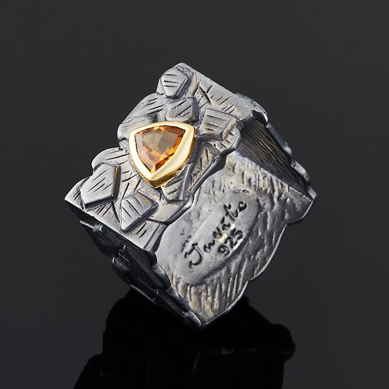Кольцо цитрин огранка (серебро 925 пр., позолота) размер 18 цена