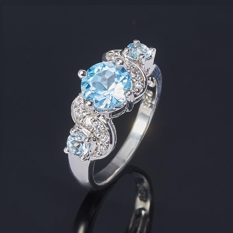Кольцо топаз голубой огранка (серебро 925 пр.) размер 16,5 кольцо коюз топаз кольцо т747017362 01