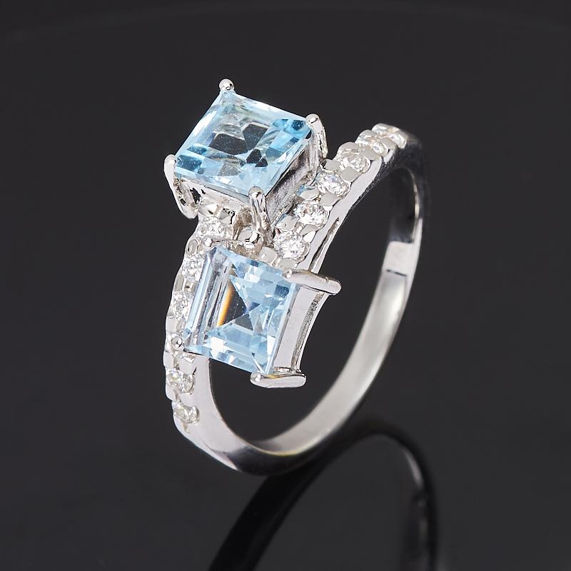 Кольцо топаз голубой огранка (серебро 925 пр.) размер 18 кольцо коюз топаз кольцо т747017362 01