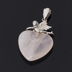 Кулон розовый кварц Бразилия сердечко (серебро 925 пр.)