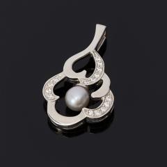 Кулон жемчуг серый Гонконг (серебро 925 пр.)