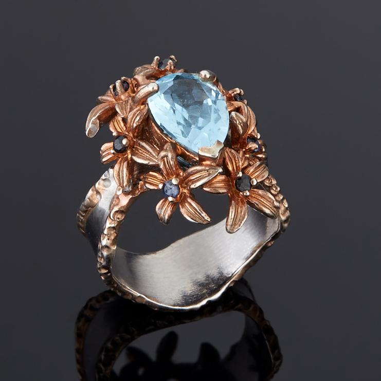 цена на Кольцо топаз голубой огранка (серебро 925 пр., позолота) размер 17,5