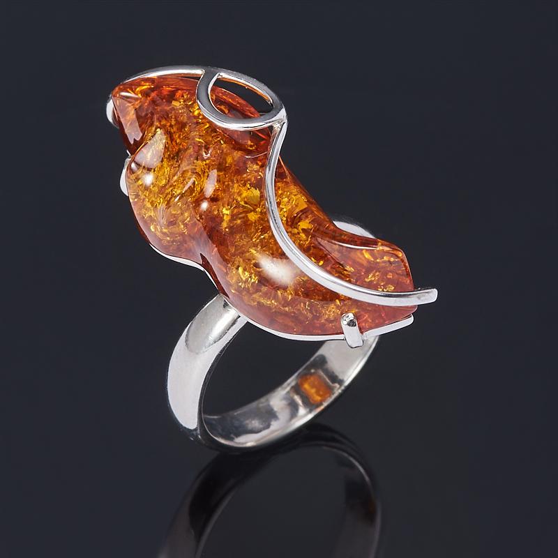 Кольцо янтарь (серебро 925 пр.) (регулируемый) размер