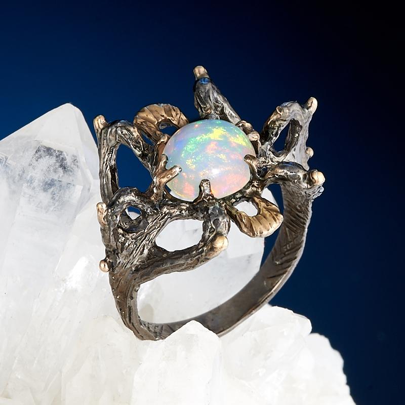 Кольцо опал благородный белый Эфиопия (серебро 925 пр., позолота) размер 17,5