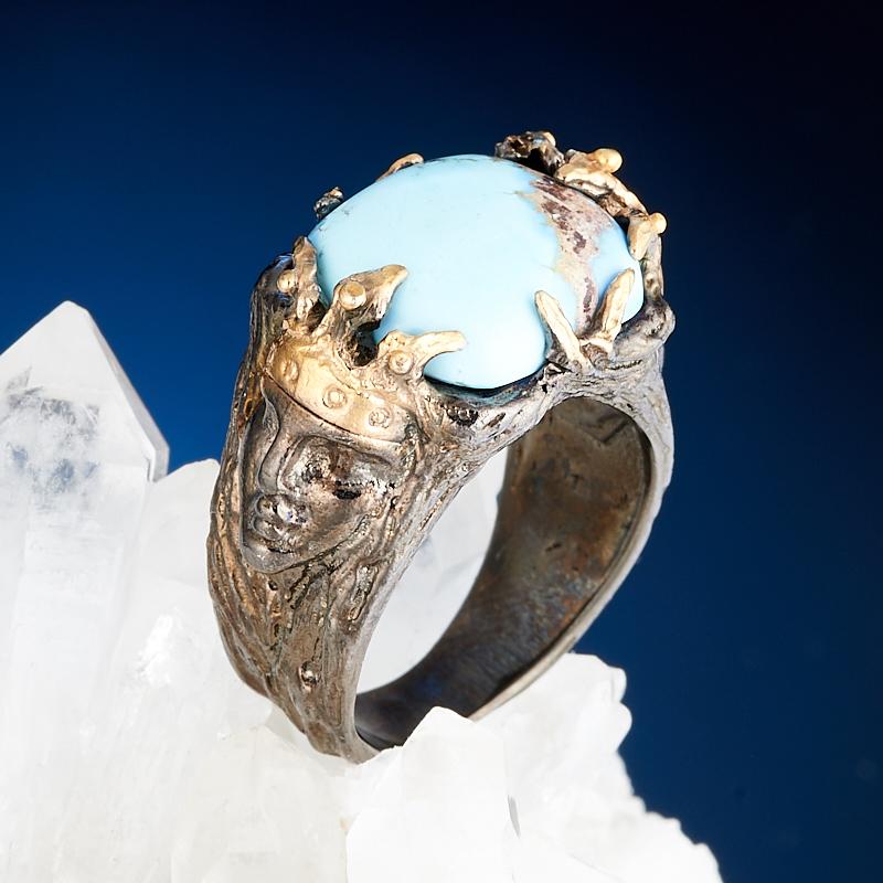 Кольцо бирюза Казахстан (серебро 925 пр., позолота) размер 17