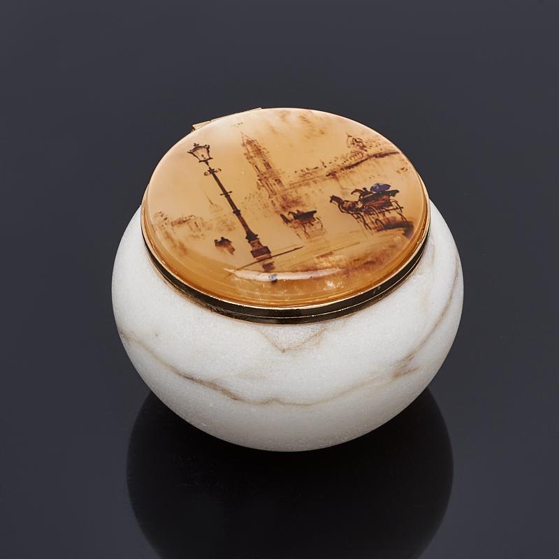 Шкатулка круглая большая селенит 50х70 мм большая жратва 2
