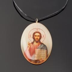 Кулон селенит Россия овал Иисус Христос 3,5 см
