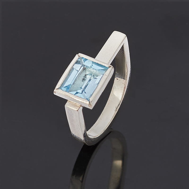 Кольцо топаз голубой огранка (серебро 925 пр.) размер 17,5 кольцо коюз топаз кольцо т747017362 01