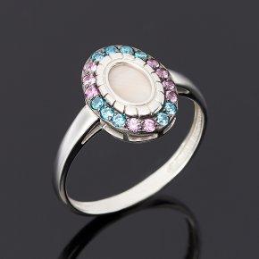 Кольцо перламутр розовый Индонезия (серебро 925 пр.) размер 18