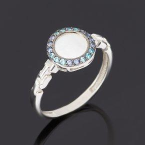 Кольцо перламутр белый Индонезия (серебро 925 пр.) размер 18