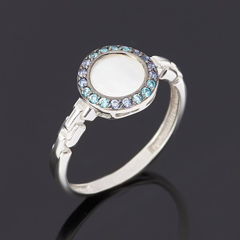 Кольцо перламутр белый (серебро 925 пр. родир. бел., родир. черн) размер 18