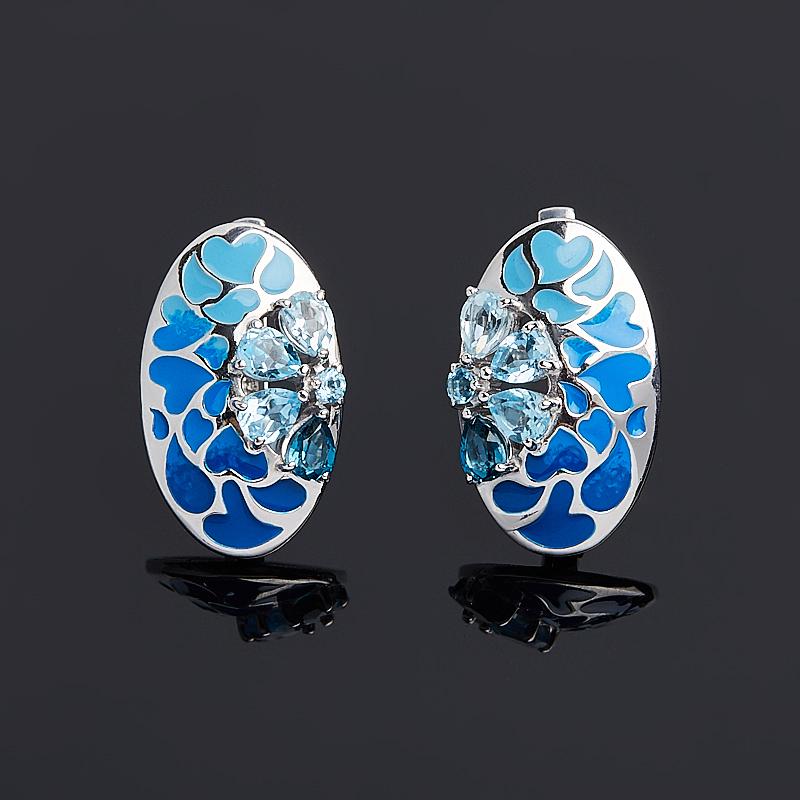 Серьги топаз голубой, swiss, лондон огранка (серебро 925 пр.) серьги коюз топаз серьги т101028376 01