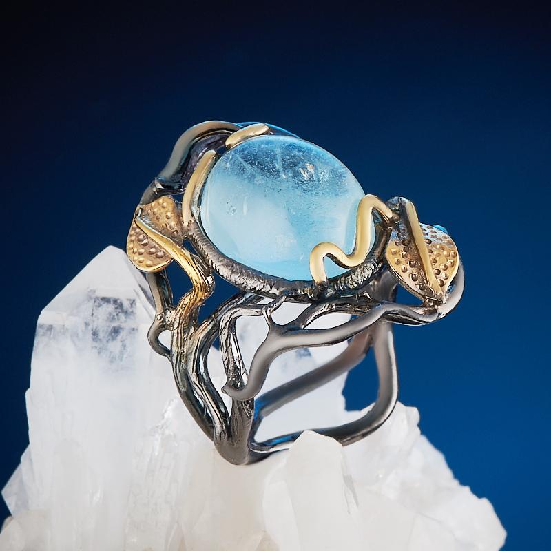 Фото - Кольцо аквамарин (серебро 925 пр., позолота) размер 18,5 кольцо аквамарин серебро 925 пр позолота размер 18
