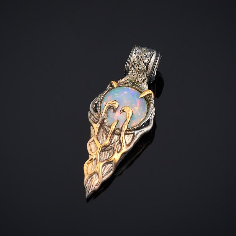 Кулон опал благородный белый (серебро 925 пр., позолота)