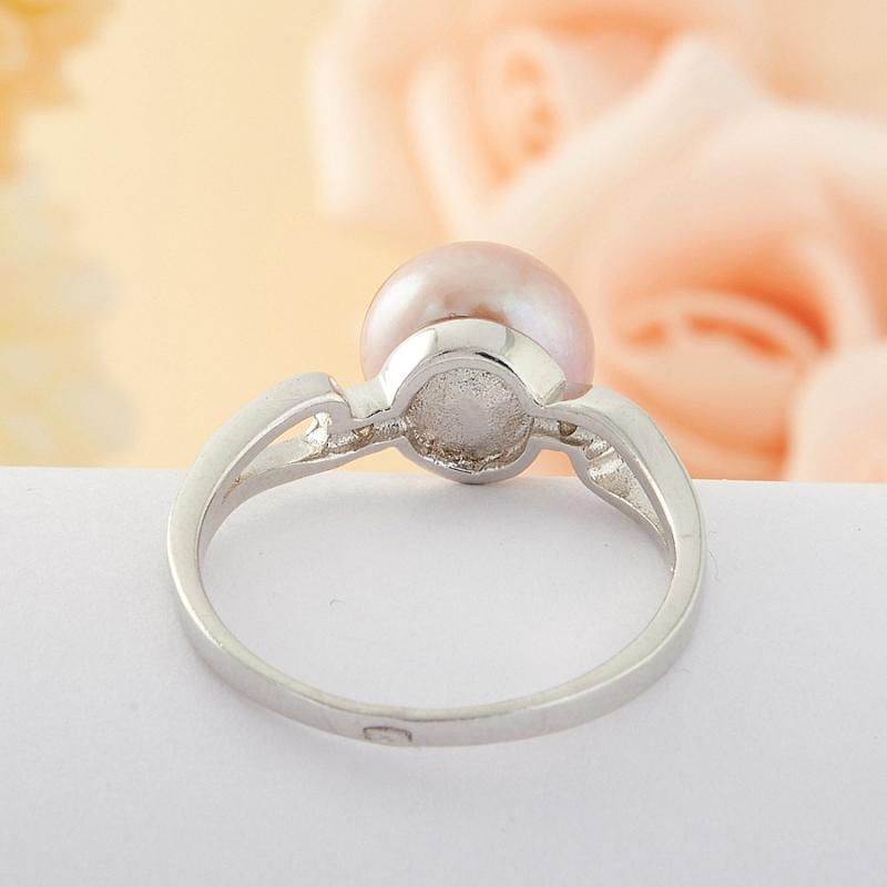 Кольцо бежевый жемчуг Малайзия (серебро) размер 16