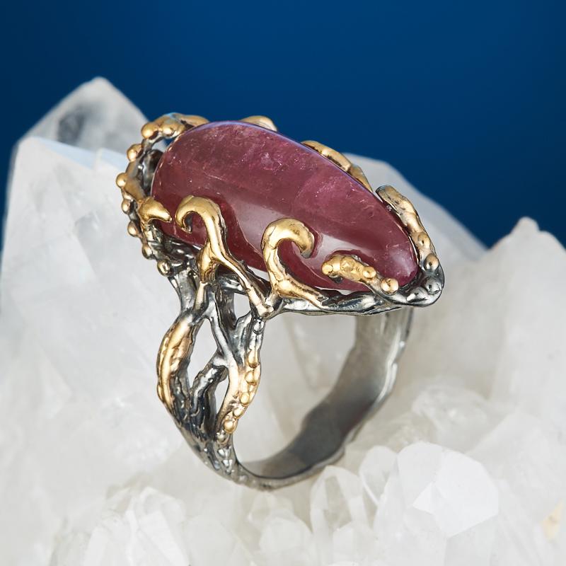 Кольцо турмалин розовый (рубеллит) (серебро 925 пр., позолота) размер 17