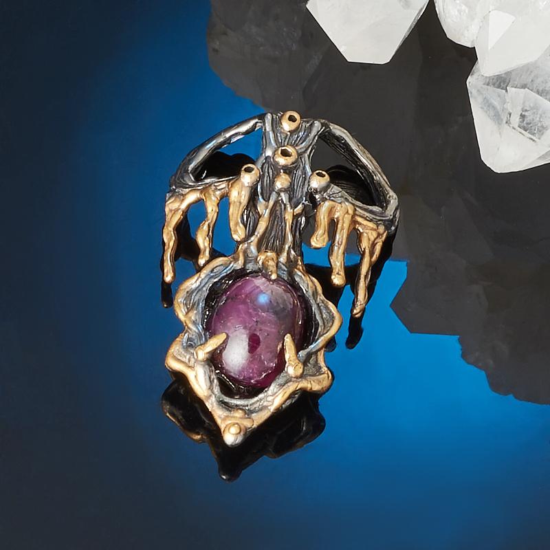 Кулон корунд звездчатый рубиновый (серебро 925 пр., позолота) цена и фото