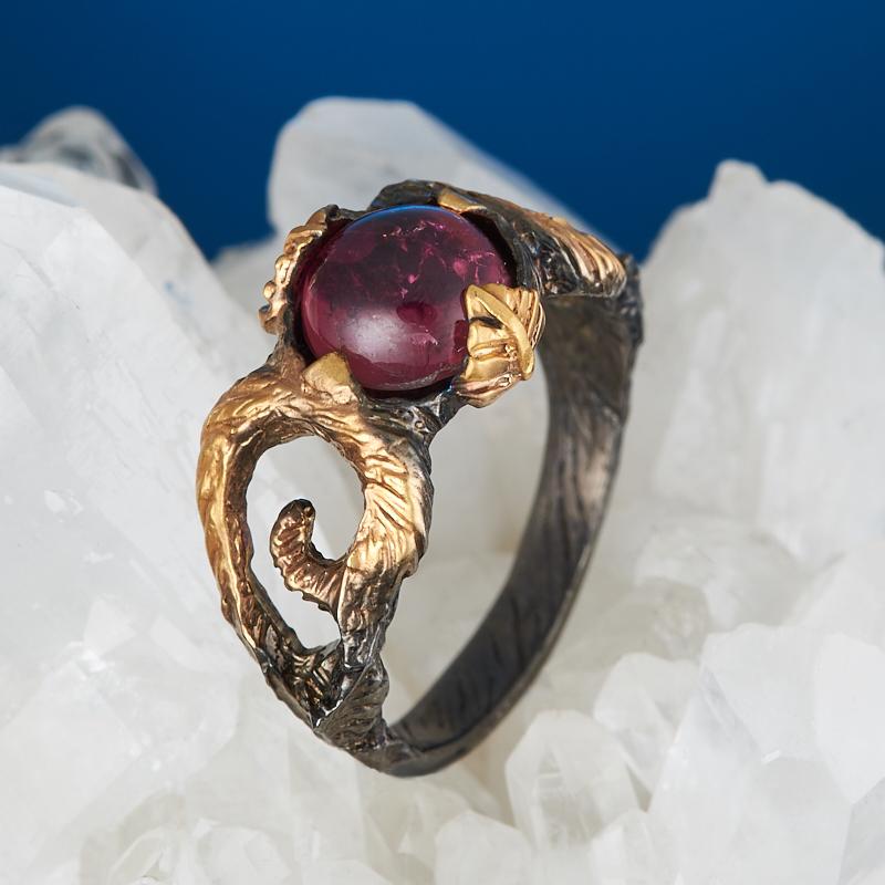 Кольцо турмалин розовый (рубеллит) (серебро 925 пр., позолота) размер 16