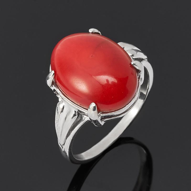 Кольцо коралл красный (серебро 925 пр.) размер 17,5