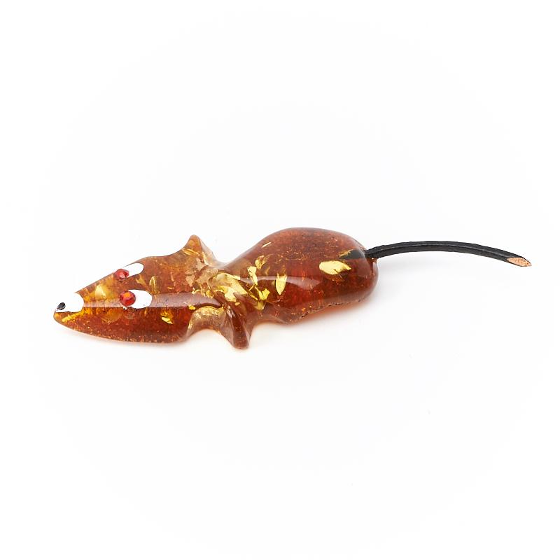 Денежный талисман янтарь Россия (мышь кошельковая) 5 см