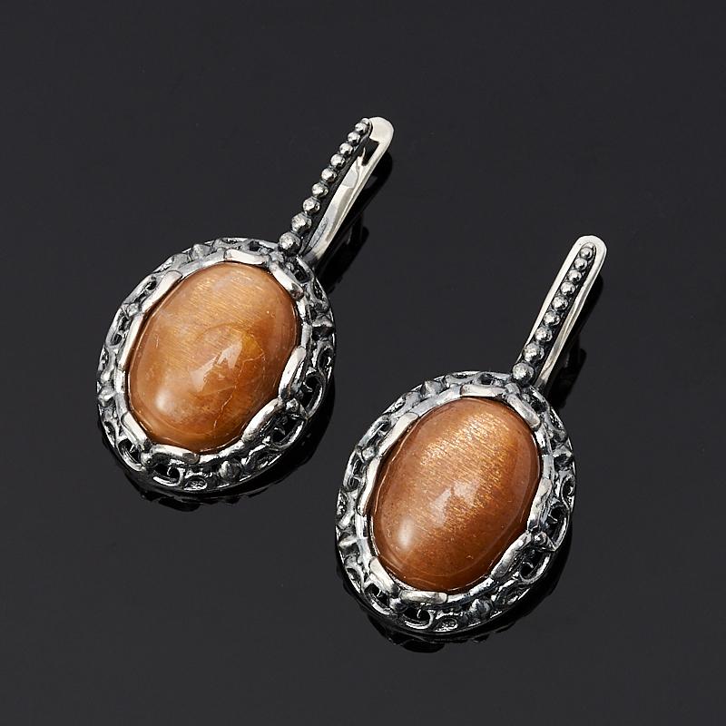 Серьги солнечный камень (серебро 925 пр. оксидир.)