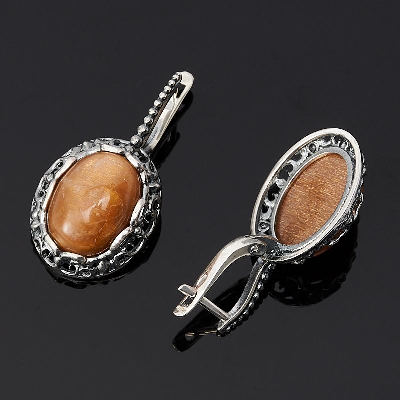 Серьги солнечный камень Индия (серебро 925 пр. оксидир.)