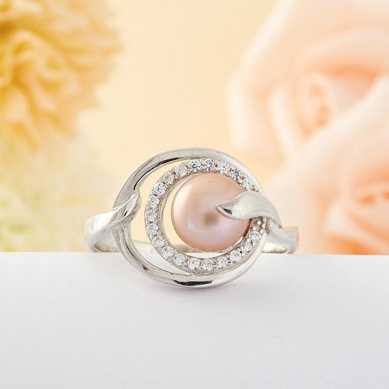 Кольцо бежевый жемчуг  (серебро) размер 19