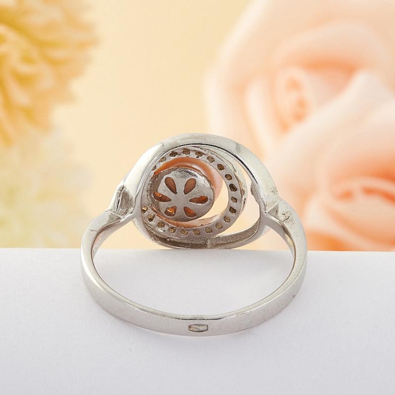 Кольцо бежевый жемчуг Малайзия (серебро) размер 19,5