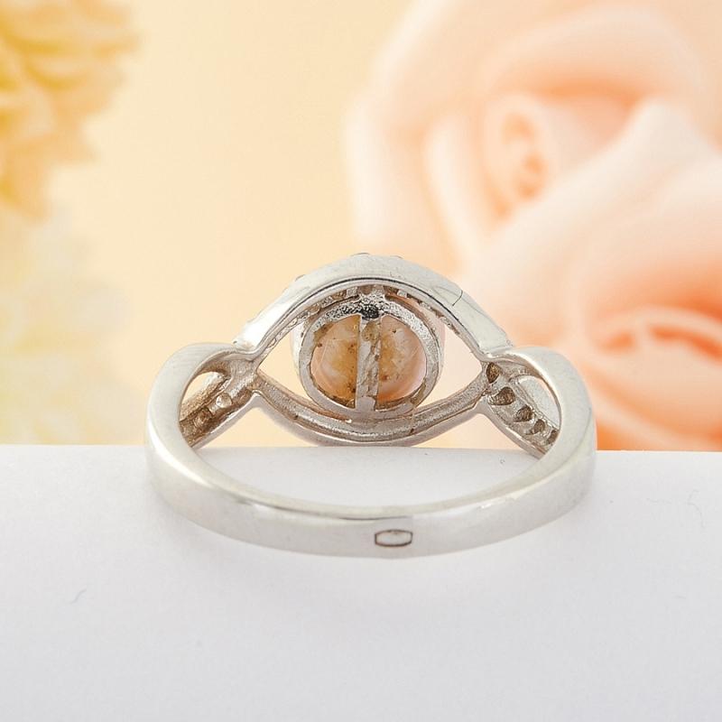 Кольцо бежевый жемчуг Малайзия (серебро) размер 17