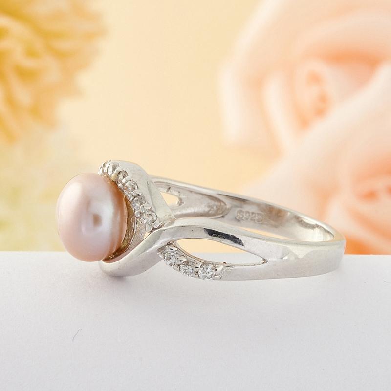 Кольцо бежевый жемчуг Малайзия (серебро) размер 18
