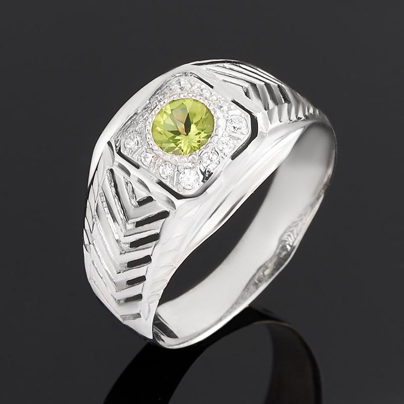 Кольцо хризолит огранка (серебро 925 пр.) размер 21,5