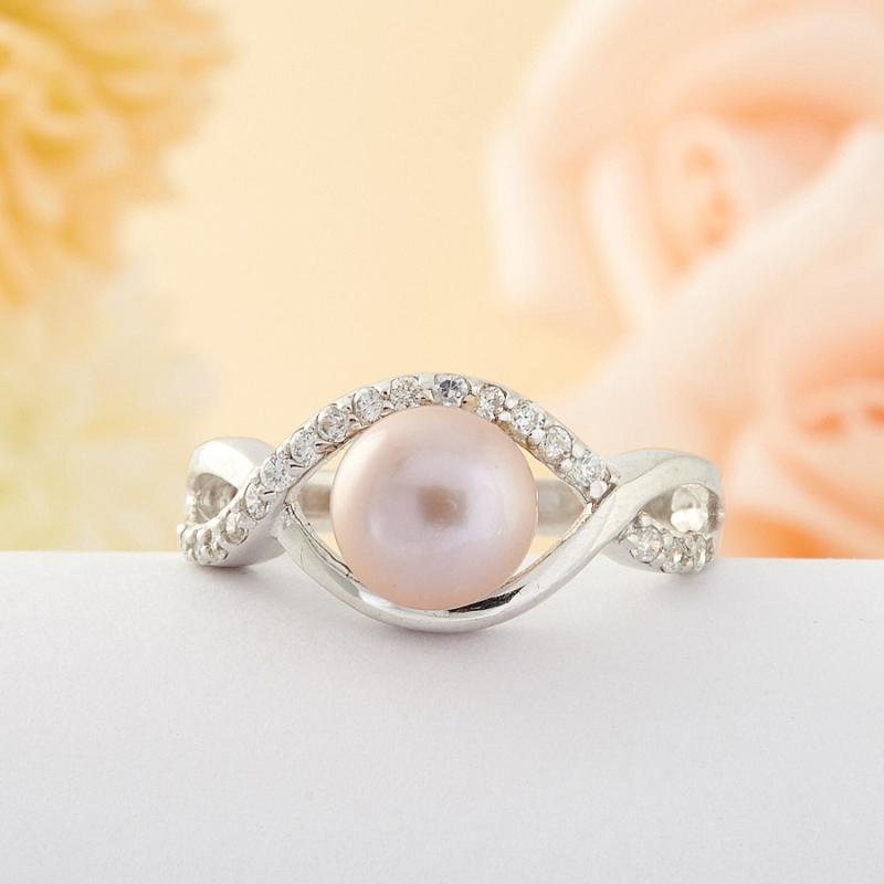 Кольцо бежевый жемчуг Малайзия (серебро) размер 22