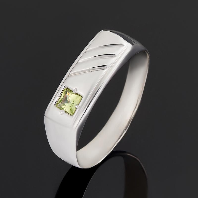 Кольцо хризолит огранка (серебро 925 пр.) размер 19,5