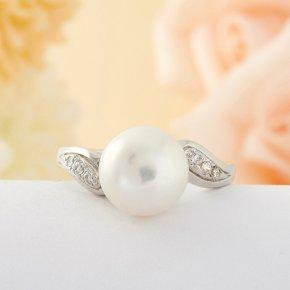 Кольцо жемчуг Малайзия (серебро) размер 17