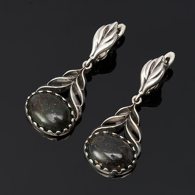 Серьги опал благородный черный (серебро 925 пр.) семена баклажан черный опал 0 25гр