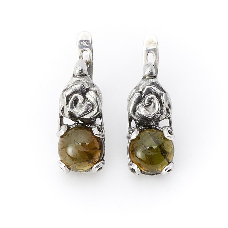 Серьги турмалин зеленый (верделит) (серебро 925 пр.)