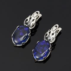 Серьги опал благородный синий (триплет) Австралия (серебро 925 пр.)