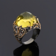 Кольцо цитрин Бразилия огранка (серебро 925 пр., позолота) размер 17,5